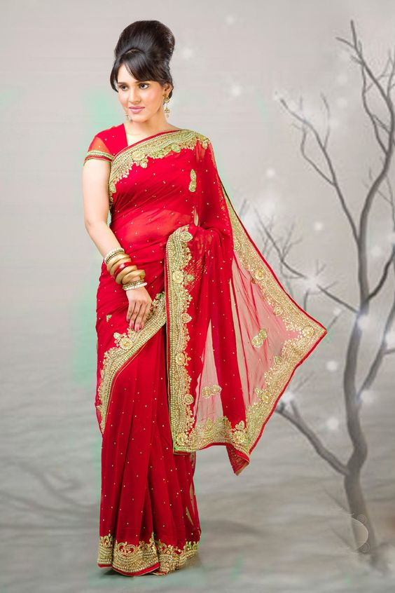 Glamorous red embroidered saree item code vi color