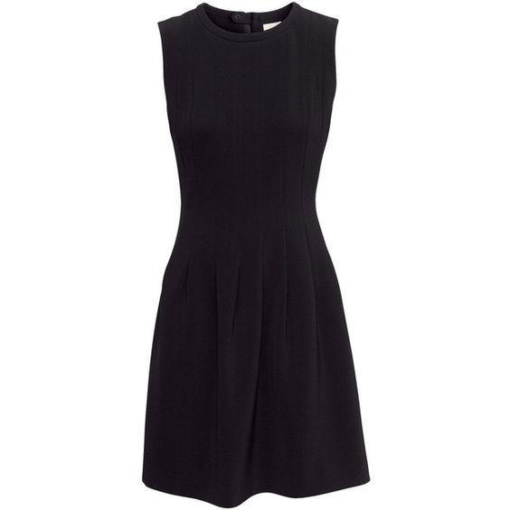 H&M Sleeveless dress ($46) ❤ liked on Polyvore featuring dresses, h&m, black, vestidos, sukienki, sleeveless flare dress, black flare dress, flare dress and black pleated dress