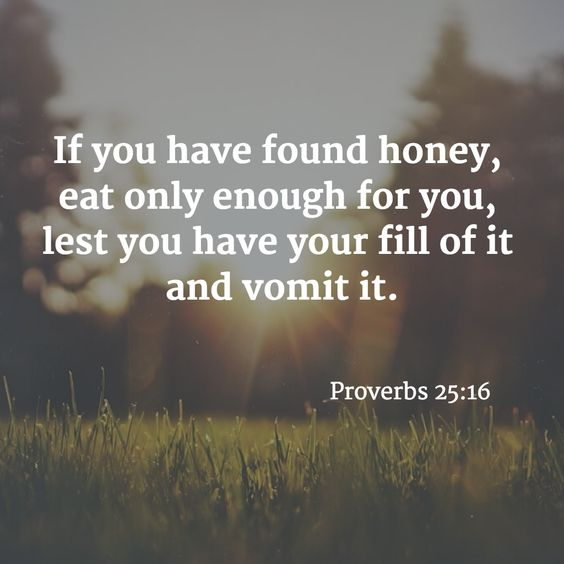 If you have found honey, eat only enough for you, lest you have your fill of it and vomit it. - Proverbs 25:16