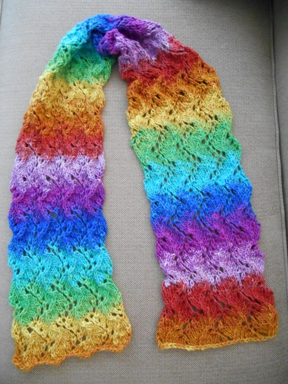 Hand Knit Multicolor Flowing Lace Scarf by KnittingIdeas on Etsy, $50.00
