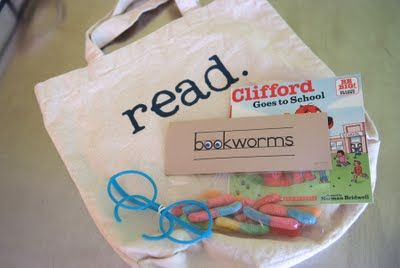 "A library party - with cool book-themed party favors. Love the ""bookworms"""