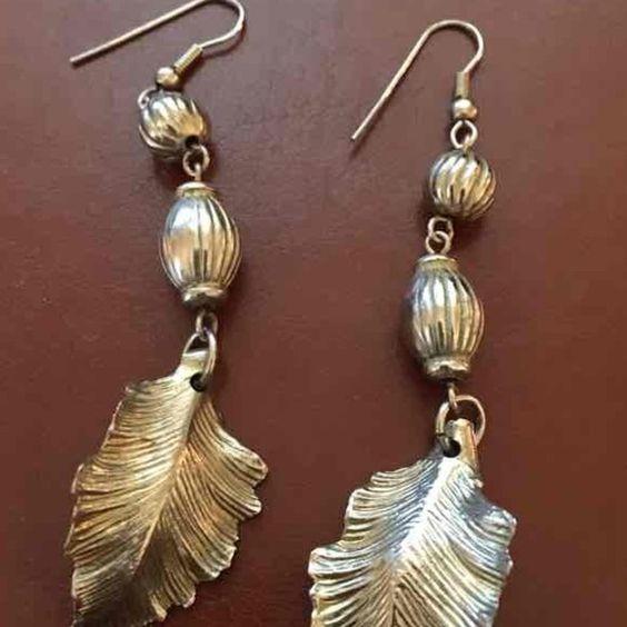 Vintage gold leaf earrings From 70's Jewelry Earrings