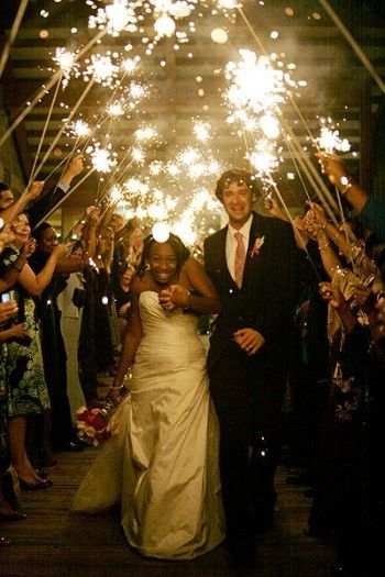 Sparklers at night. Great idea for later on in the evening especially for an outdoor reception