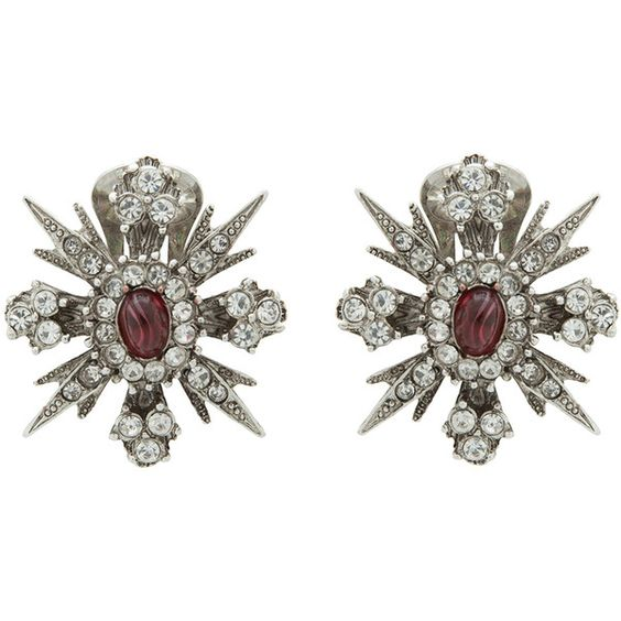Kenneth Jay Lane Rhodium And Ruby Stone Starburst Earrings (€73) ❤ liked on Polyvore