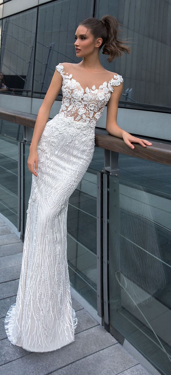 Fitted lace off the shoulder illusion bridal gown