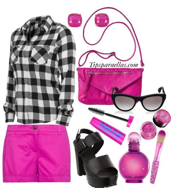 #lookdeldia #pink   ¿Qué tal les parece esta combinación entre fucsia/negro/blanco?   El perfume es Fantasy de Britney Spears, un perfume dulce que en lo particular nos gusta mucho.   Recuerden que el perfume va a depender del Ph de su piel.  #tipsparaellas