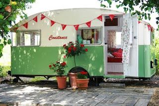 Retro style caravan. Love the colour combo and the font used for the name.