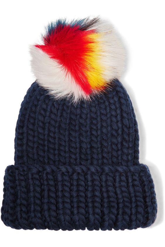 Navy wool, multicolored faux fur 100% wool; trim: 100% acrylic Spot clean