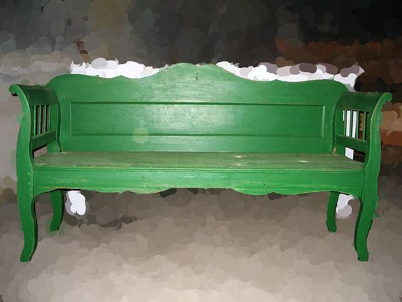 Green bench...would look great anywhere at home !