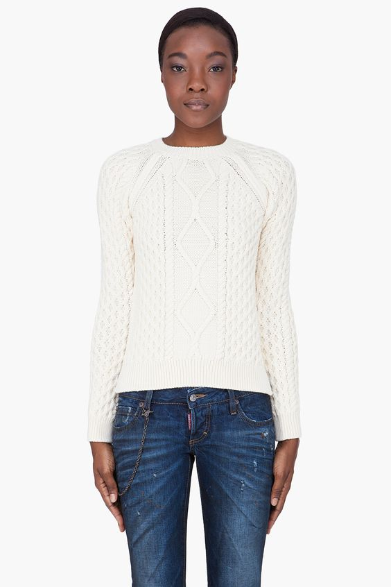DSQUARED2  Dsquared2 Cream Wool Cable Knit Sweater