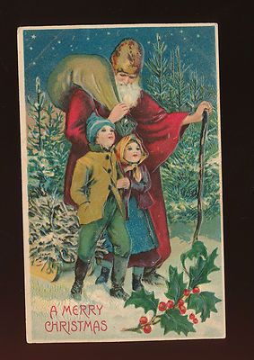 Vintage Victorian ~SANTA CLAUS~ with Children Embossed Christmas Postcard-ggg874