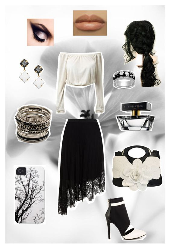 """""""Misty Woods"""" by blue-water-lily ❤ liked on Polyvore featuring Karen Millen, Liliana, Affinity Diamond Jewelry, Amrita Singh, Dutch Basics and CÉLINE"""