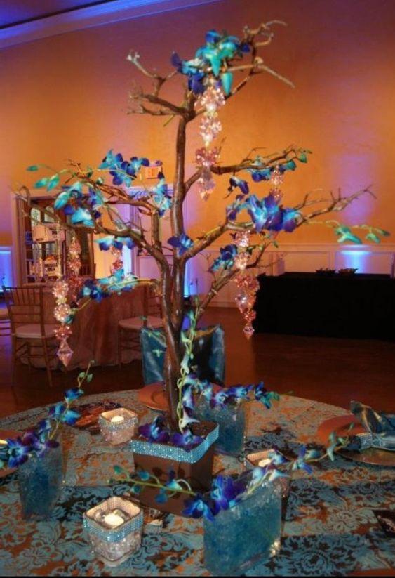 Blue orchid centerpiece wedding shenanigans pinterest