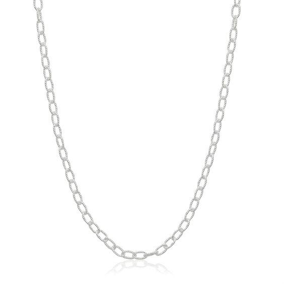 Italian Sterling Silver Diamond-cut 3mm Oval Rolo Chain Necklace