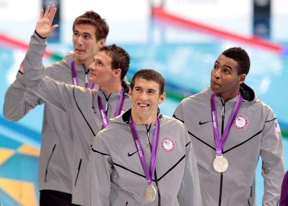 Nathan, Lochte, Phelps, and Jones - Silver in 4x100 Freestyle Relay.