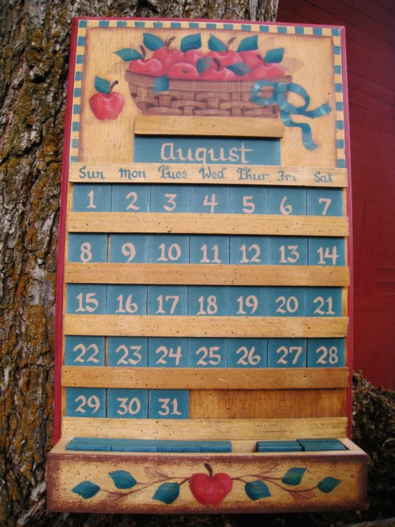 Apple wooden perpetual calendar kitchen decor home and living paint country and home and living - Wooden perpetual wall calendar ...