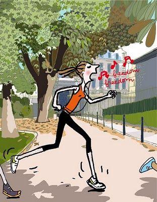 Le running des paresseuses: un must! Illustrations par Soledad