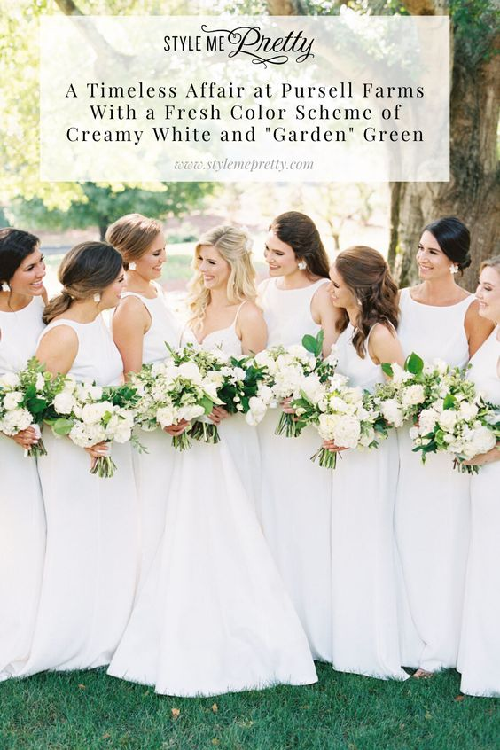 "Our hearts have fallen head over heels in love with this stunning summer wedding at Pursell Farms that is the epitome of a classic wedding! Head to stylemepretty.com for all the creamy white and ""garden"" green details! Photography by @imryanray  #summerwedding #farmwedding #classicwedding #weddinginspiration"