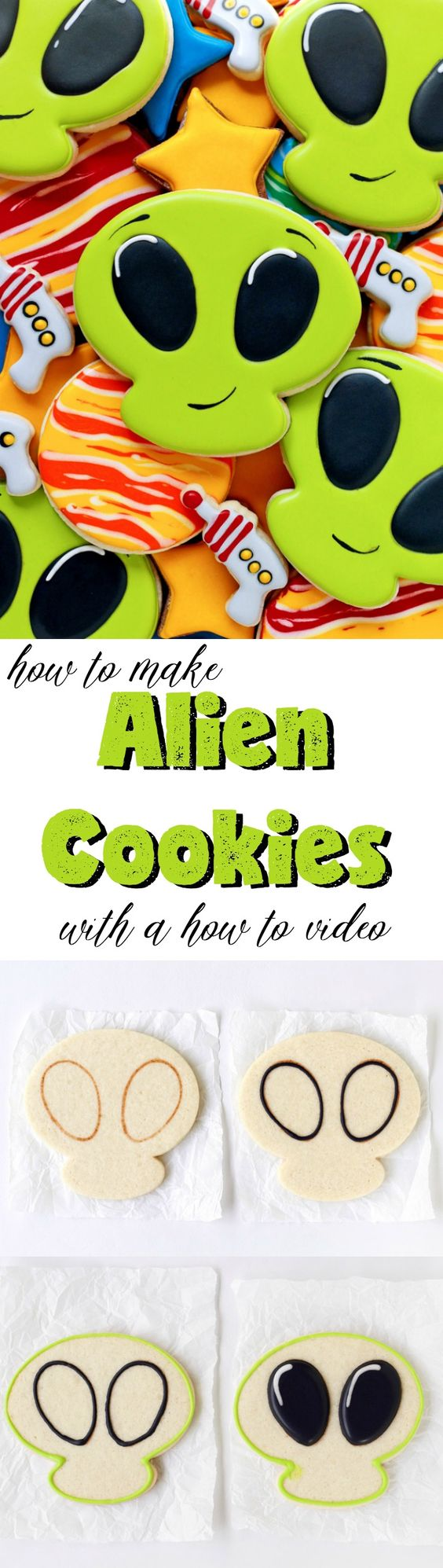 How to Make Alien Cookies with a How to Video | The Bearfoot Baker