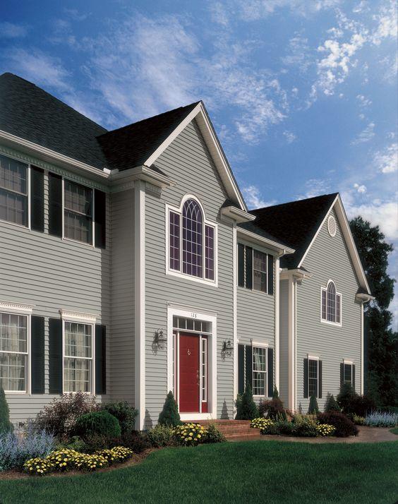 Gray House Red Door Black Shutters Siding Shutter