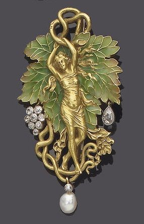 An art nouveau enamel, diamond and pearl brooch pendant, by Plisson et Hartz, circa 1900.