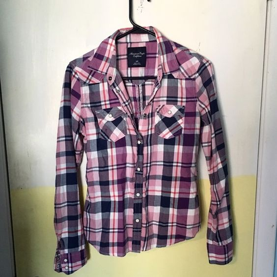 Plaid print button down Plaid print button down top from American eagle size small!   No holes or stains. No trades. Bundle for discounts!  Or shoot me an offer!! American Eagle Outfitters Tops Blouses