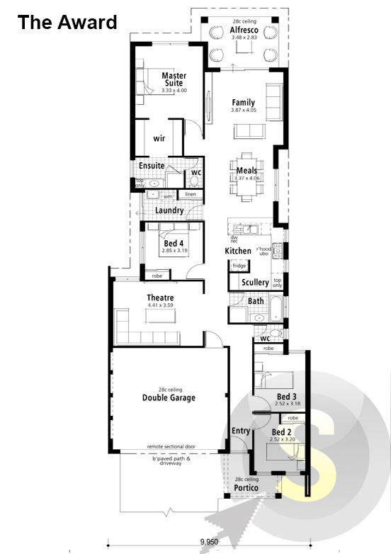 The Award Floorplan M Frontage X Alfresco Scullery - House designs with master bedroom at rear