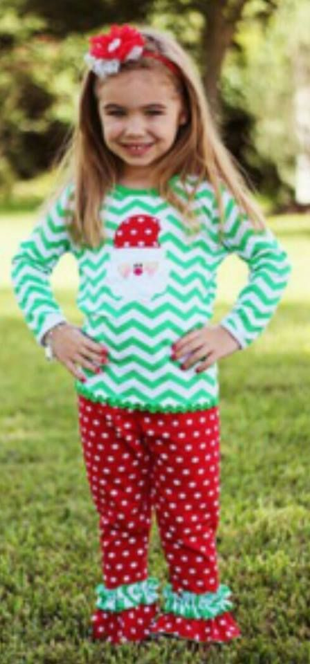 """Chevron Santa Boutique Outfit Price: $29.99 With Free Standard Shipping Need a whole outfit ready to go? Grab one of our Christmas pant sets! Each set includes ruffled polka dot pants and a long sleeve chevron print shirt with a cute Santa accent. To purchase, comment """"Sold""""   Register here to get your invoice: https://www.soldsie.com/pin/571246"""