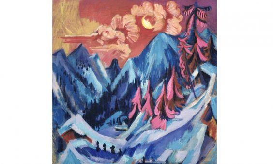 Ernst Ludwig Kirchner. Winter Landscape in Moonlight, 1919.