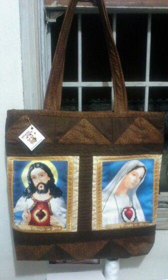 Bolsa bagagem Sagrado Coração de Jesus e Imaculado Coração de Maria.