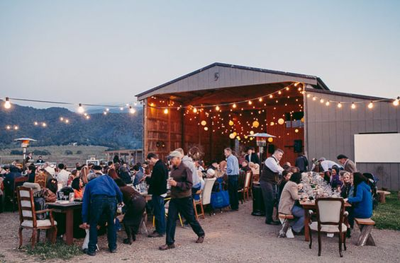 barn reception with bistro light