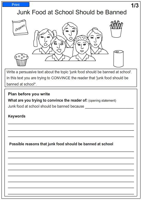 Help on essay junk food in schools