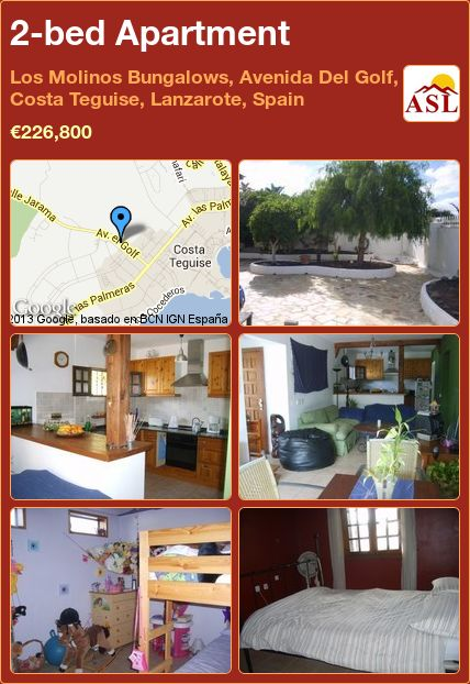 2-bed Apartment in Los Molinos Bungalows, Avenida Del Golf, Costa Teguise, Lanzarote, Spain ►€226,800 #PropertyForSaleInSpain