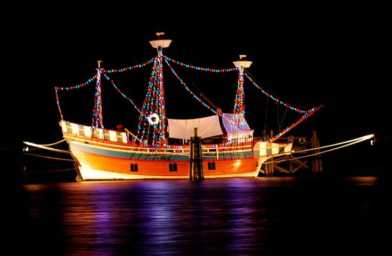 The Elizabeth II is all lit up for Christmas 2013 at Roanoke Island Festival Park in Manteo, NC.