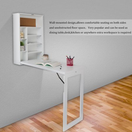 Foldable Wall Desk Computer Desktop With Shelves Storage Fold Out Convertible Wall Mount Desk Study Writing Table Walmart Com Wall Mounted Table Wall Mounted Desk Convertible Desk