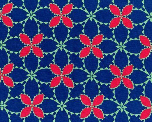 Folk Modern - Flower Blue - JG-41600-3A by Ellen Luckett Baker from Kokka Fabrics - 1 Yard