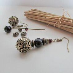 Kit boucle d'oreille crochet et perle en métal couleur bronze, perle de verre noire - 6.3 cm-ref 65