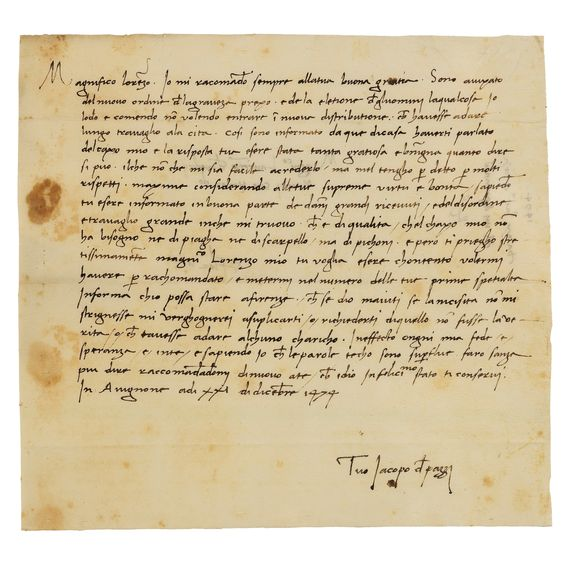 15 LETTERS OF MAIN CONSPIRATORS DIRECTED TO LAURENT DE MEDICI 1 AND JULIEN DE MEDICI LETTER. 1458-1477.