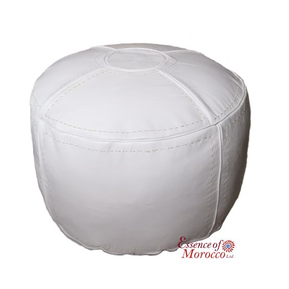 Moroccan Pouf Ottoman Stuffed in the UK. Genuine White Leather. Handmade Hand-stitched. Professionally Upholstered Extra Large