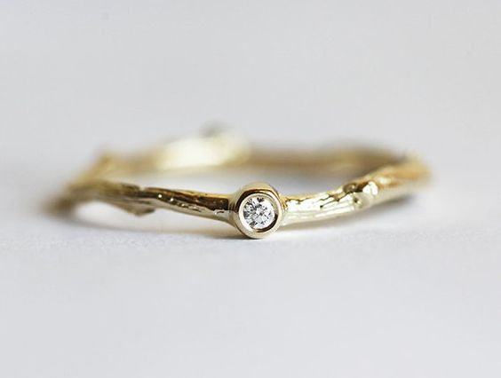 Diamond Branch Ring, Twig Ring, Solitaire Diamond Ring, 14k gold