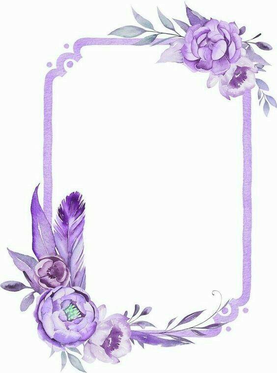 Purple Frame Floral Floral Border Design Flower Frame Wreath Drawing