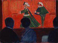 Marianne von Werefkin, Marionettentheater, 1917/1918, Gouache auf Papier, Städtische Galerie im Lenbachhaus und Kunstbau München.