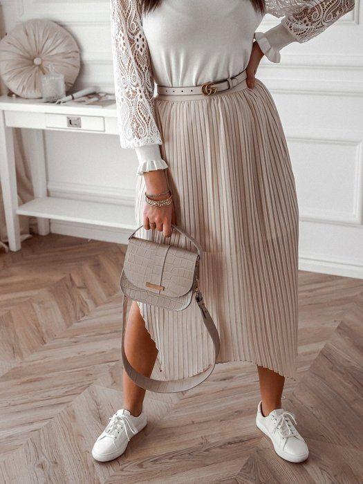 Bezowa Plisowana Spodnica Midi Midi Skirt Skirts Fashion
