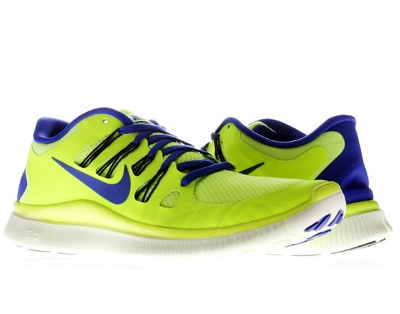 Nike Free 5.0+ Mens Running Shoes Volt/Hyper Blue-Blk-Barely Volt Size 8 thru 13 #Nike #RunningCrossTraining