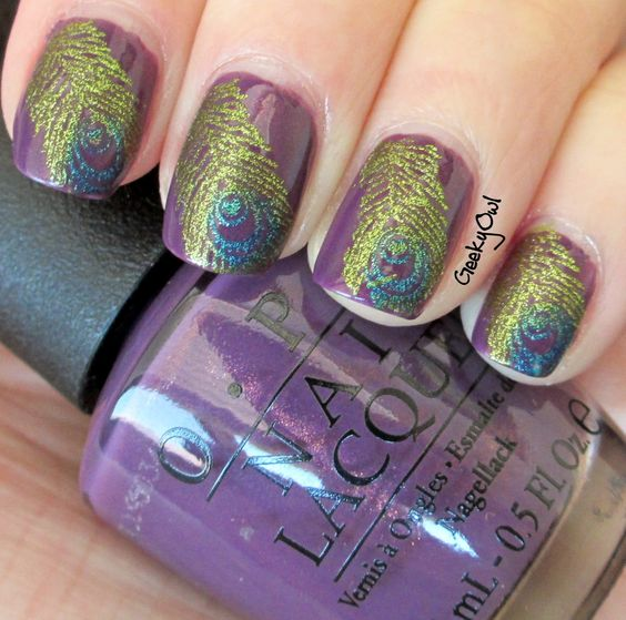 Peacock feathers! LOVE!: Peacock Feathers, Nails Nails, Nail Polish, Peacock Nails, Nail Designs, Pretty Nails, Peacock Nail Art, Feather Nails, Purple Peacock