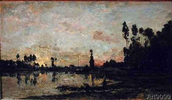 Charles-Francois Daubigny - Sunset on the Oise, 1865