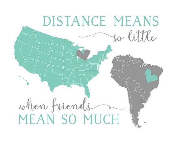 Best Friend Present Long Distance BFF Quotes Foreign Exchange Pen Pal Gift