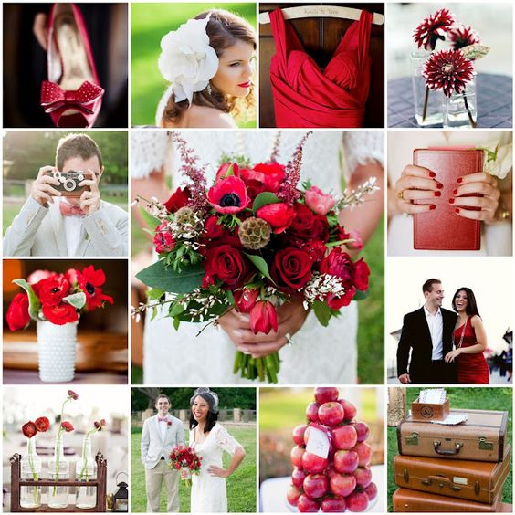 Red wedding colour scheme for September wedding