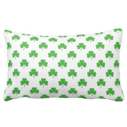 Green Heart-Shaped Clover on White St. Patrick s Throw Pillow Saint Patrick s Day Pinterest ...