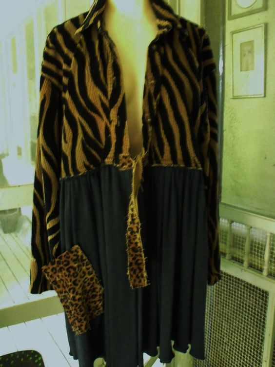 Exotic Short Reconstructed Coat Patched Animal Print by SheerFab, $85.00